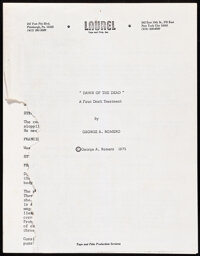 Dawn of the Dead by George Romero (1975). Fine/Very Fine. First Treatment Script (93 Pages), Alternate Ending Synopsis (...