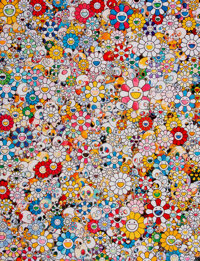 Takashi Murakami (b. 1962) Skulls & Flowers Multicolor, 2013 Offset lithograph in colors on smooth wove paper 27 x 2...