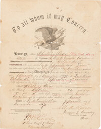 """Indian Scout """"Whistling Bear"""" Discharge Signed By Major Marcus Reno and 1st Lieut. William W. Cooke"""