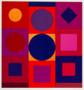 Prints & Multiples, Victor Vasarely (1906-1997). Granat from Album Lapidaire, 1964. Screenprint in colors on wove paper. 26-3/4 x 25-1/2...
