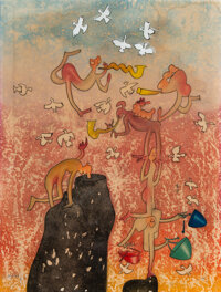 Roberto Matta (1911-2002) Grand Circus, Surrealist, 1975 Etching in colors on wove paper 26 x 19-5/8 inches (66 x 49