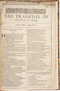 Books:Early Printing, [William Shakespeare]. The Tragedie of Julius Caesar [Extracted from the First Folio]. [London: Isaac Jaggard an...