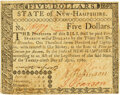 Colonial Notes:New Hampshire, New Hampshire April 29, 1780 $5 Fr. NH-183 PMG Choice Extremely Fine 45.. ...