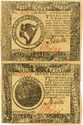 Colonial Notes:Continental Congress Issues, Continental Currency September 26, 1778 $8-$7 Uncut Vertical Pair Fr. CC-81-80 PCGS About New 53.. ...