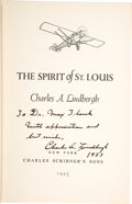 Books:Signed Editions, Charles A. Lindbergh. The Spirit of St. Louis. New York: Charles Scribner's Sons, 1953. Later printing, Book-of-the-...