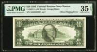 Full Face to Back Offset Error Fr. 2027-A $10 1985 Federal Reserve Note. PMG Choice Very Fine 35 EPQ