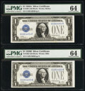 Changeover Pair Fr. 1601/Fr. 1602 $1 1928A/1928B Silver Certificates PMG Choice Uncirculated 64