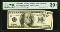 Paper Jam Error Fr. 2175-B $100 1996 Federal Reserve Note. PMG Very Fine 30 EPQ