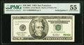 Small Size:Federal Reserve Notes, Serial Number 3 Fr. 2088-L $20 2001 Federal Reserve Note. ...
