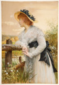 """Books:Original Art, Sir Luke Fildes. """"Sophia."""" Original watercolor heightened in white. Signed and dated by the artist with his monogram, """"L..."""