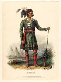 [Thomas L. McKenney and James Hall]. Hand-Colored Portrait ASEOLA, A Seminole Leader from