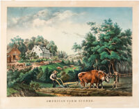 [Currier, publisher]. Three Hand-Colored Lithographs American Farm Scenes, No.1-3. New York: N.... (Total: 3)