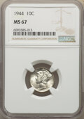 Mercury Dimes, (3)1944 10C MS67 NGC. NGC Census: (995/11). PCGS Population: (505/7). CDN: $45 Whsle. Bid for NGC/PCGS MS67. Mintage 231,41... (Total: 3 coins)