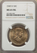 Franklin Half Dollars, 1949-D 50C MS65 Full Bell Lines NGC. NGC Census: (274/14). PCGS Population: (923/116). CDN: $320 Whsle. Bid for NGC/PCGS MS...