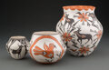American Indian Art:Pottery, Three Acoma Polychrome Jars... (Total: 3 )