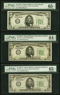 Small Size:Federal Reserve Notes, Fr. 1957-G; L (2) $5 1934A Federal Reserve Notes. PMG Graded Choice Uncirculated 64 EPQ-Gem Uncirculated 65 EPQ.. ... (Total: 3 notes)