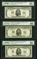 Small Size:Federal Reserve Notes, Fr. 1962-G; H; K $5 1950A Federal Reserve Notes. PMG Graded Gem Uncirculated 65 EPQ; Gem Uncirculated 66 EPQ (2).. ... (Total: 3 notes)