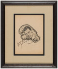 Boxing Collectibles:Autographs, Jack Dempsey Signed Drawing. ...