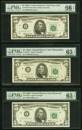 Small Size:Federal Reserve Notes, Fr. 1970-B; C; E $5 1969A Federal Reserve Notes. PMG Graded Gem Uncirculated 66 EPQ; Gem Uncirculated 65 EPQ (2).. ... (Total: 3 notes)