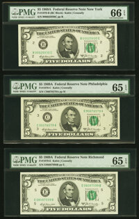 Fr. 1970-B; C; E $5 1969A Federal Reserve Notes. PMG Graded Gem Uncirculated 66 EPQ; Gem Uncirculated 65 EPQ (2). ... (T...