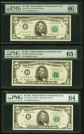 Small Size:Federal Reserve Notes, Fr. 1976-J $5 1981 Federal Reserve Notes. Three Examples. PMG Gem Uncirculated 66 EPQ; Gem Uncirculated 65 EPQ; Choice Uncircu... (Total: 3 notes)