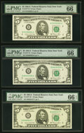Small Size:Federal Reserve Notes, Fr. 1977-B (2); B* $5 1981A Federal Reserve Notes. PMG Gem Uncirculated 66 EPQ.. ... (Total: 3 notes)