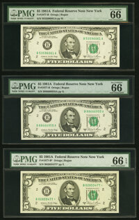 Fr. 1977-B (2); B* $5 1981A Federal Reserve Notes. PMG Gem Uncirculated 66 EPQ. ... (Total: 3 notes)