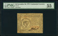 Colonial Notes:Continental Congress Issues, Continental Currency November 29, 1775 $8 PMG About Uncirculated 55.. ...