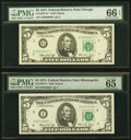 Small Size:Federal Reserve Notes, Fr. 1973-G*; I; I*; L (2) $5 1974 Federal Reserve Notes. PMG Graded Gem Uncirculated 65 EPQ-Gem Uncirculated 66 EPQ.. ... (Total: 5 notes)