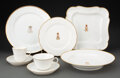 Ceramics & Porcelain, A Forty-Nine Piece French Partial Gilt Porcelain Married Dinner and Dessert Service . Marks to plates: (crown-double LP-SV-4... (Total: 49 Items)