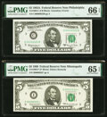 Small Size:Federal Reserve Notes, Low Serial Number 22 Fr. 1968-C $5 1963A/Fr. 1969-I* $5 1969 Federal Reserve Notes. PMG Gem Uncirculated 66 EPQ; Gem Uncircula... (Total: 2 notes)