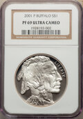 2001-P $1 Buffalo Silver Dollar PR69 Ultra Cameo NGC. NGC Census: (15520/2357). PCGS Population: (19135/2299). CDN: $85...
