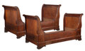 Furniture, A Pair of French Empire-Style Mahogany Twin Sleigh Beds. 42-1/2 x 39 x 80 inches (108.0 x 99.1 x 203.2 cm) (each, approximat...