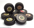 Hockey Collectibles:Pucks, Hockey Guy LaPointe NHL Game Puck Collection (9) UnCertified.... (9items)