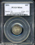 Seated Dimes: , 1891 MS66 PCGS. ...