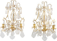 A Pair of Italian Three-Light Gilt Metal and Glass Wall Sconces, 20th century 19 x 11 x 8 inches (48.3 x 27.9 x 20.3 cm)...