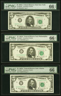 Fr. 1968-B*; C; F $5 1963A Federal Reserve Notes. PMG Gem Uncirculated 66 EPQ. ... (Total: 3)