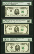 Small Size:Federal Reserve Notes, Fr. 1969-A*; C*; F* $5 1969 Federal Reserve Star Notes. PM...