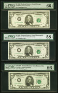 Small Size:Federal Reserve Notes, Fr. 1969-G; I; J* $5 1969 Federal Reserve Notes. PMG Grade...