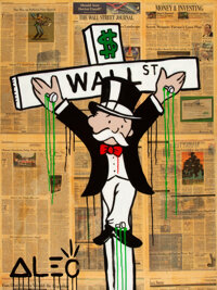 Alec Monopoly (b. 1986) Wall Street Crucifix, 2012 Acrylic, sray paint and collage on canvas with re