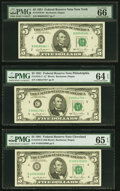 Small Size:Federal Reserve Notes, Fr. 1976-B*; C*; D $5 1981 Federal Reserve Notes. PMG Grad...