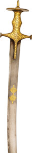 Edged Weapons:Swords, A Gold Damascened Indian Mughal Tulwar, 18th Century. . ...
