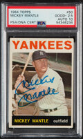 Baseball Cards:Singles (1960-1969), Signed 1964 Topps Mickey Mantle #50 PSA Good+ 2.5 - Auto 10....