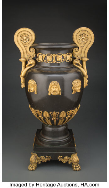Furniture, A Gilt Bronze-Mounted Patinated Copper Two-Handled Vase by Alexis Decaix, Designed by Thomas Hope for his Duchess Street Mans...