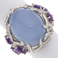 Estate Jewelry:Rings, Chalcedony, Amethyst, Diamond, White Gold Ring ...
