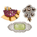 Estate Jewelry:Brooches - Pins, Diamond, Ruby, Chalcedony, Enamel, Platinum, Gold Brooches...