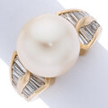 Estate Jewelry:Rings, South Sea Cultured Pearl, Diamond, Gold Ring S...