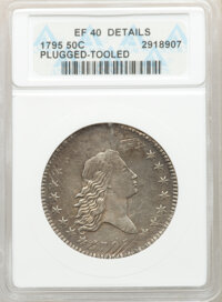 1795 50C 2 Leaves, O-110, R.3 -- Plugged, Tooled -- ANACS. XF40 Details....(PCGS# 39228)