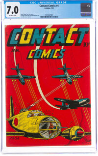 Contact Comics #4 (Aviation Press, 1945) CGC FN/VF 7.0 Off-white pages
