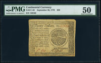 Continental Currency September 26, 1778 $20 PMG About Uncirculated 50